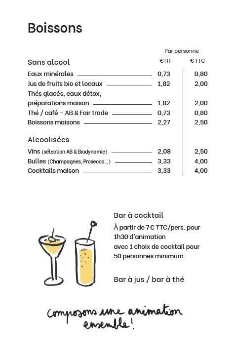 Tarifs boissons menu